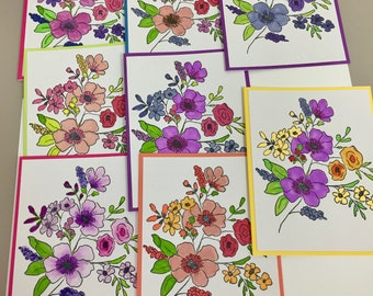 Set of 8 blank handmade note cards assorted colors