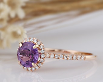 14K Solid Gold Engagement Ring/7mm Natural VS Amethyst/Halo Design Ring/Anniversary Ring/Promise Ring/Rose Gold Ring Sets