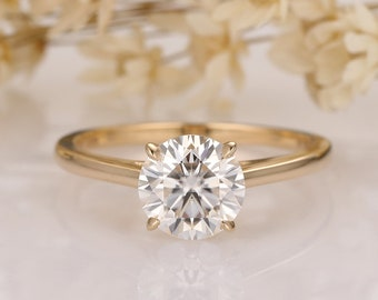Cathedral Claw Prongs 6.5mm Round Cut Moissanite Wedding Ring/ Simulated Diamond Engagement Ring/ 14K Gold Promise rings/ Moissanite Rings
