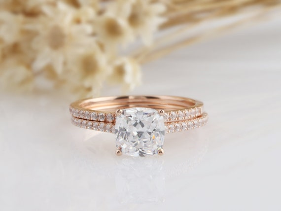 14k Solid Gold Ring 1 5ct Cushion Cut Simulated Diamond Engagement Ring Moissanite Wedding Ring Rose Gold Ring For Women