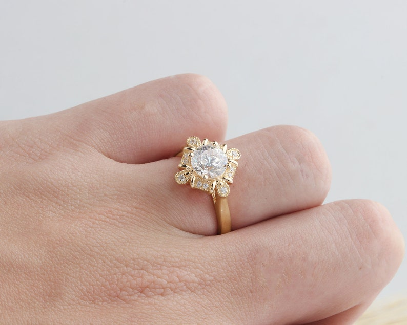 14K Solid Gold Ring1.25CT Round Simulated Diamond CenterMoissanite Engagement RingHalo Ring Promise ring Yellow gold Ring For Women