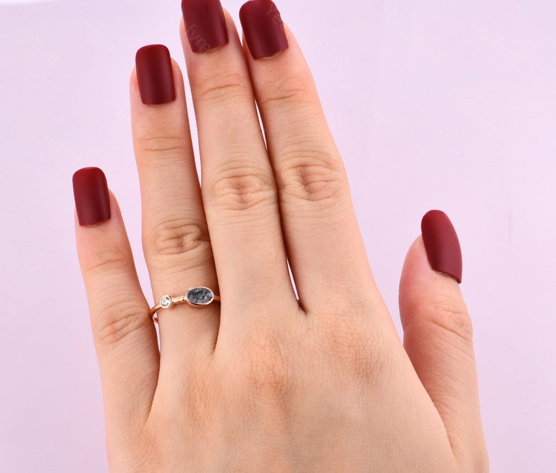Unique Oval Cut Black Rutilated Quartz Ring Rings Handmade Black Gemstone Rings Minimalist Wedding Bands Bridal Set Rings Gifts For Her