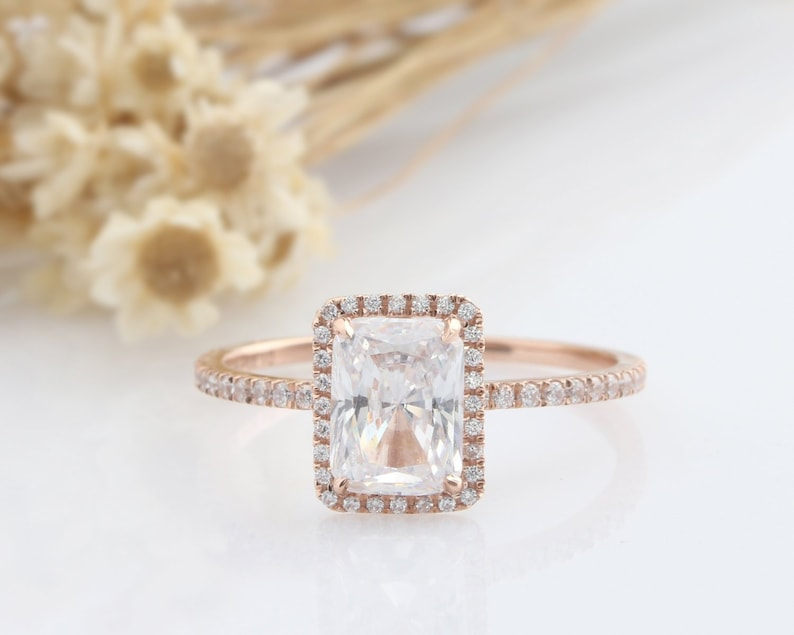 8502235d4698d 14K Solid Gold Ring Sets/1.9CT Rectangle Cut Simulated Diamond Center  Bridal Sets/Wedding Ring/Anniversary Ring/Rose Gold Rings