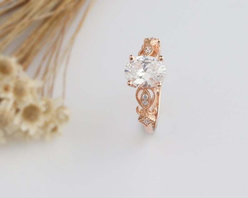 14K Solid Gold Ring 2CT Oval Simulated Diamond Wedding Ring Moissanite Engagement Ring Anniversary Ring Promise Ring Rose Gold Ring