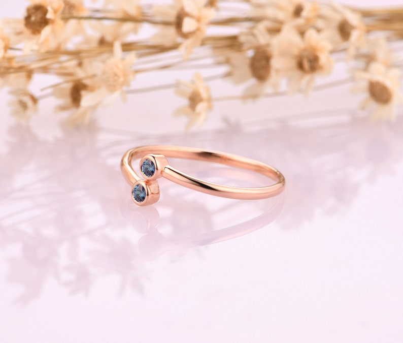 Daily Ring Alexandrite Engagement Rings 18K Solid Gold Gemstone Ring Matching Ring Retro Women Ring Handmade Custom Ring Birthday Gift