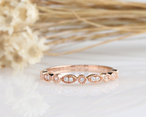 14K Solid Gold Rings/Art Deco Simulated Diamond Wedding Band/ Matching Band/Stack Ring/Promise Ring