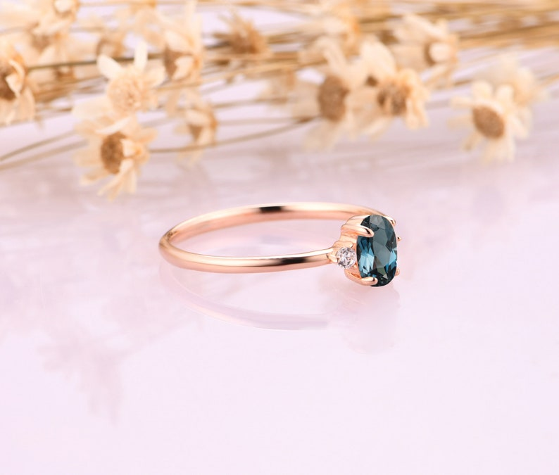 Minimalist Natural London Blue Topaz Rings 0.5CT Oval Natural London Blue Topaz Wedding Ring Gemstone Engagement Ring 18K Solid Gold Ring