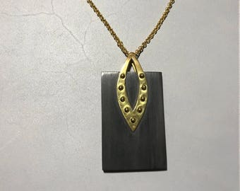 """32"""" Rosewood and Gold Plated Brass Overlay Necklace"""