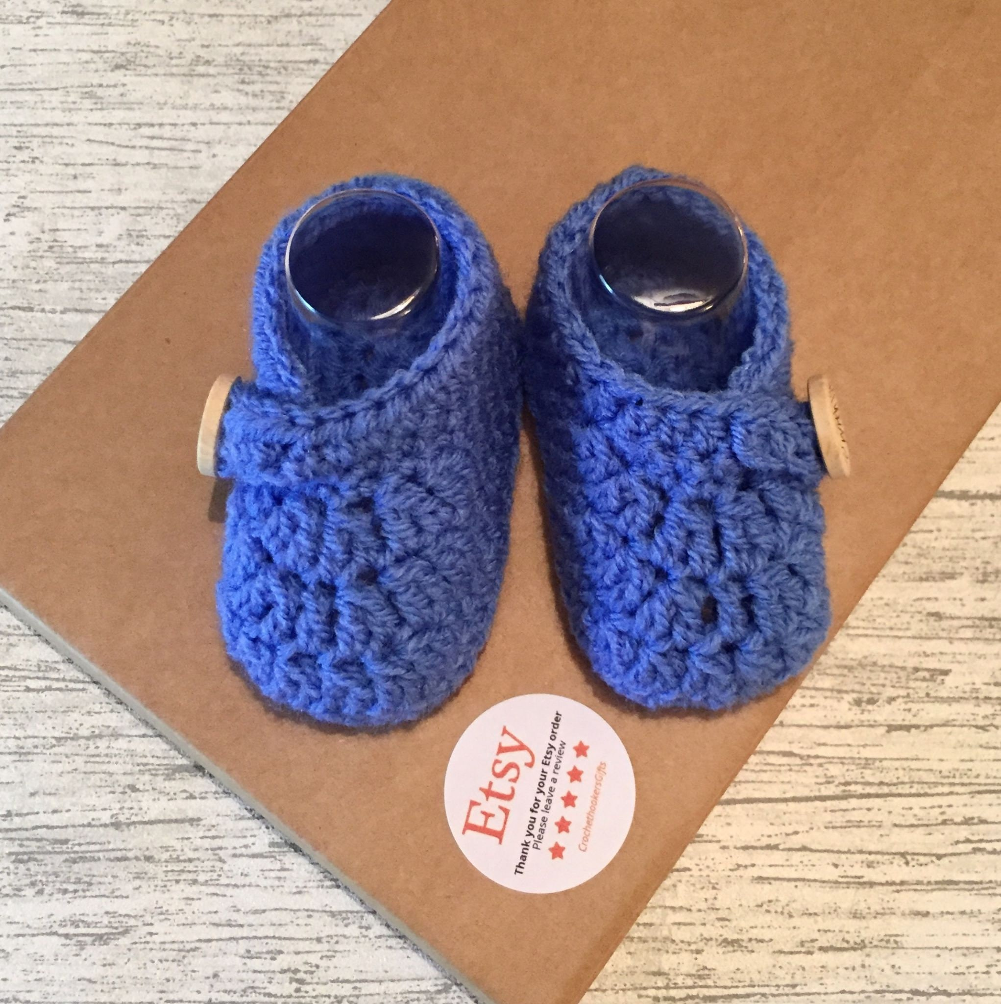 Baby Boy Bootees Booties 1 Pair Pom Pom New Born 3 Months Soft