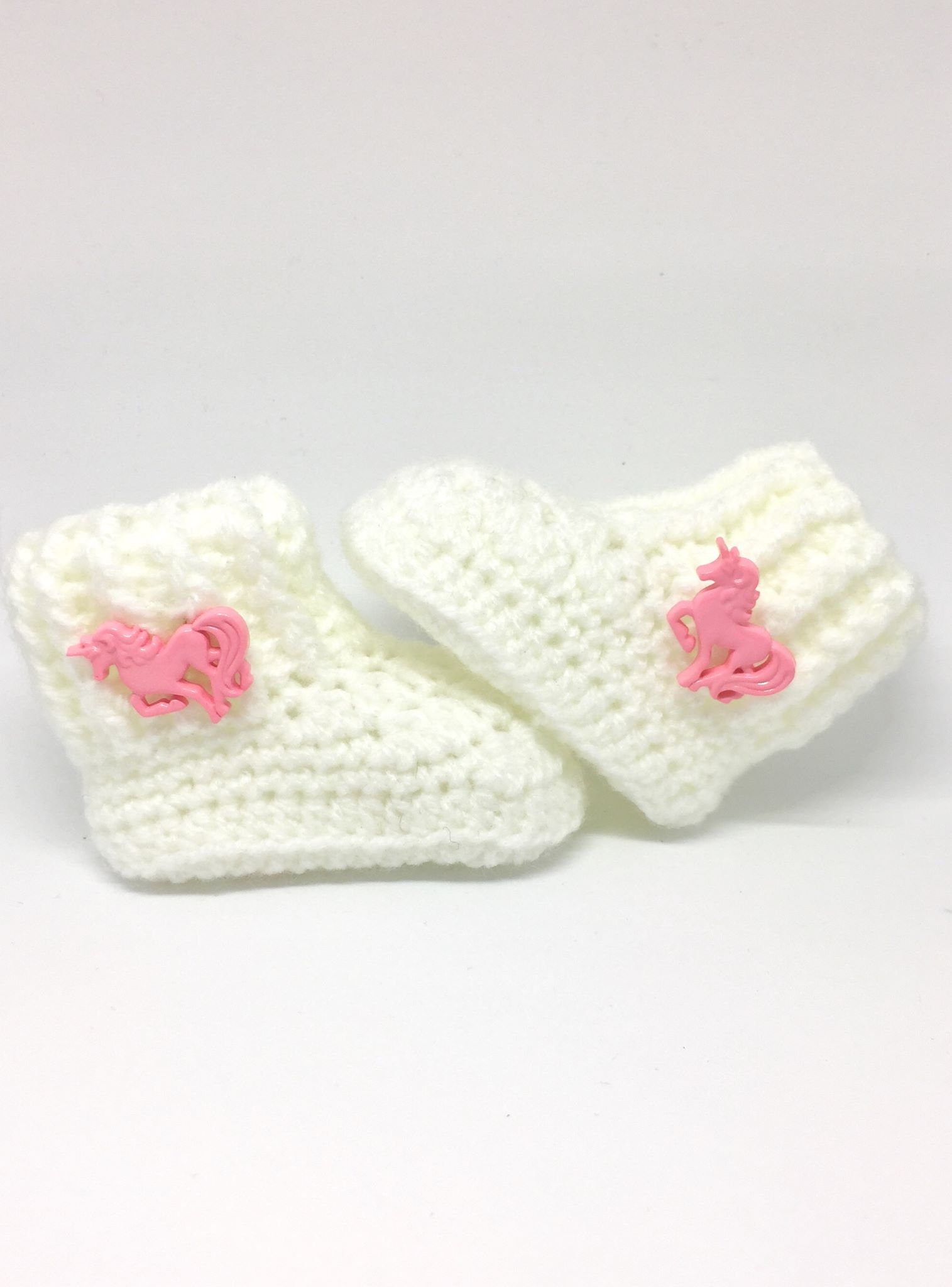 White Booties with Butterfly for Newborn Baby Girl