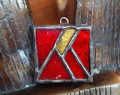 Red Moon Pendant - Charm Stained glass Jewelry - Cloisonne Style Key Ring