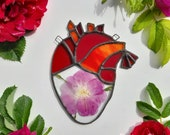 Medium Stained Glass Blooming Anatomical Heart Dried Flowers - Floral Human Anatomy Art - Pressed Plants Rustic Home Decor