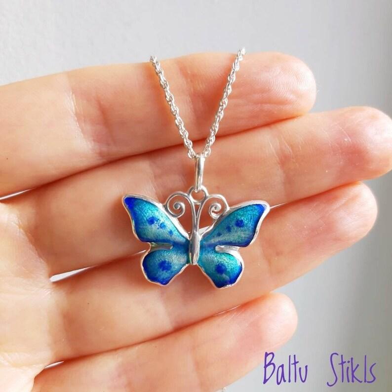 Handmade Minankari Jewelry for Her Gift Sterling Silver Enamel Necklace Hot Enamelled Cloisonn\u00e9 Silver Butterfly Pendant