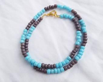 Blue and Purple Beaded Choker/Wrap Bracelet