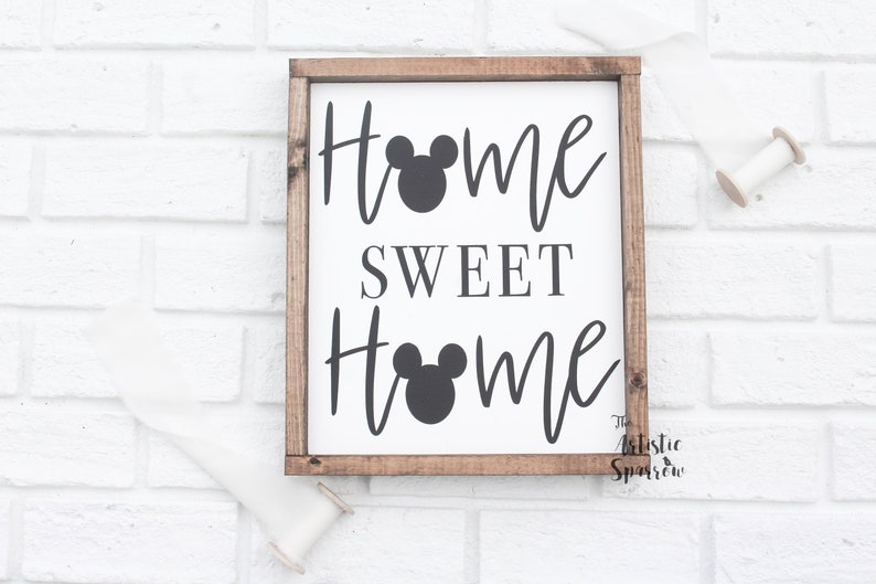 Disney Home Sweet Home Wood Sign Farmhouse Decor Disney Signs Disney Gifts Mickey Mouse Disney Lover Mantel Decor