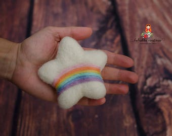 Felted white star with rainbow