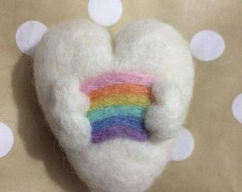 Felted Heart with Rainbow Newborn prop