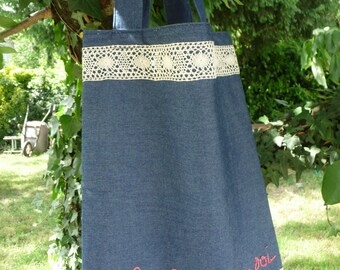 Bag / tote bag with embroidered denim and lace