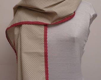 Printed beige cotton scarf polka dots and cherry lace