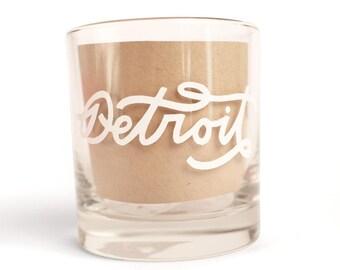 Hand Lettered Detroit Rocks Glass
