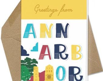 Greetings From Ann Arbor Notecard