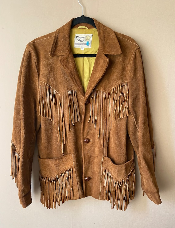 Vintage 1970s Western Suede Leather Vest With Ruffles  Retro 70s Cowgirl  Pioneer Wear