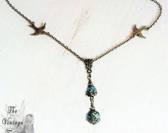 Necklace, Earrings-vintage birds, vintage, Victorian, necklace, birds, Boho