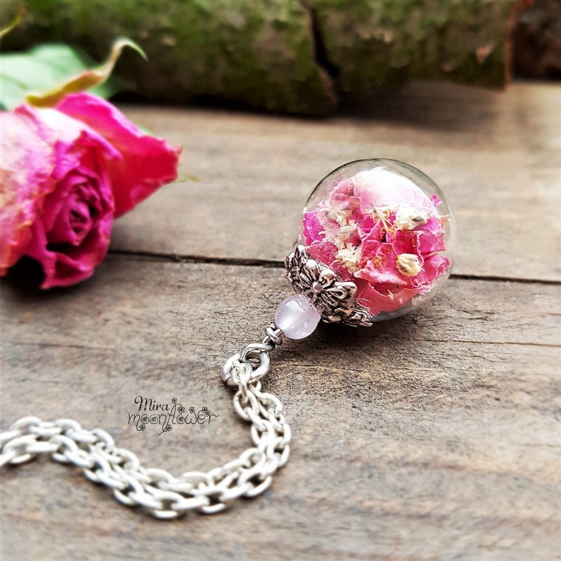 Real rose petals necklace with rose quartz pearl-glass ball jewelry