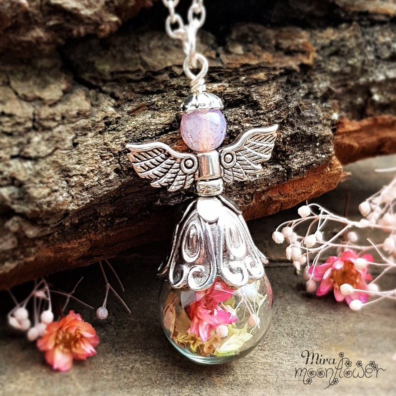 Necklace Flower FAIRY II-Glass Ball Jewelry-Dried Blossoms and Flowers