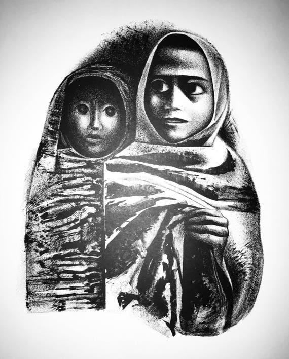 Elizabeth Catlett- Rebozos (Shawis) (Offset Print)