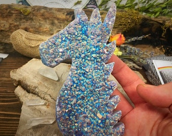 Beauty! Sparkly Unicorn Crystal Head | Amethyst, Aura Quartz, Crystals, Healing Crystals, Rainbow Crystals, Boho Decor, unicorn, raw crystal