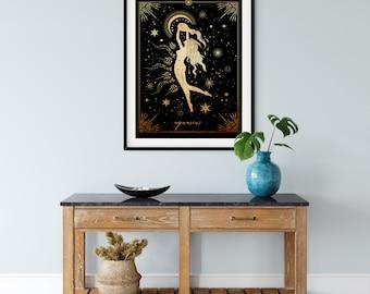 Aquarius Astrological Goddess DIGITAL  Art print