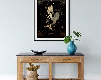 Pisces Astrological Goddess DIGITAL  Art print