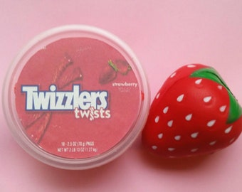 Strawberry Twizzlers Butter Slime!4oz,8oz/Delicious Scented Super Soft Daiso Clay Slime/White & Clear Glue Base/Thick Slime/Popular Slime