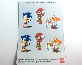 Sonic The Hedgehog 2 | Sticker Sheet | Laptop Phone Wall | Knuckles the Echidna | Tails The Fox | Aesthetic Stickers | Free Shipping