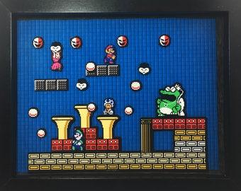 Super Mario Bros 2 | Final Boss | Wart | Diorama | Nintendo | Mario | Princess Peach | Luigi | Toad | 9x11x1.5 Inch Shadow Box