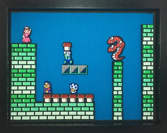 Super Mario Bros 2 | Shadow Box | Hydra | Diorama | Nintendo | Mario | Princess Peach | Luigi | Toad | 9x11x1.5 Inch Shadow Box