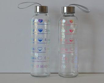 Water Tracker - Glass Water Bottle - Water Bottle - Glass Tumbler - Holographic Vinyl - Holographic Tumbler - Nurse's Week Gift