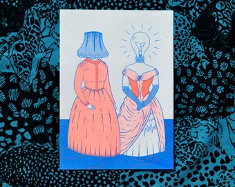 A5 Lampshade Ladies Risograph Print