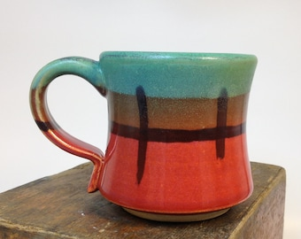 Orange and Green Ceramic Coffee Cup // Handmade Pottery Mug // Wheel thrown and hand glazed // 7 oz // Tapered