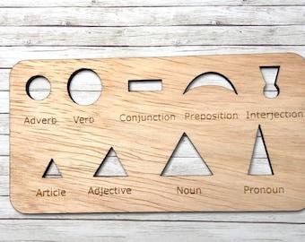 Montessori Grammar Symbol Stencil with Labels
