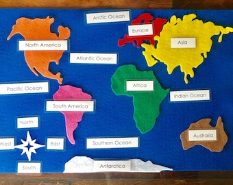 Continents Felt Map with Labels