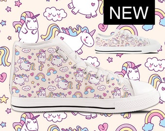 Unicorn Converse Style Custom High Tops Unicorn Shoes with Unicorns with Rainbows  Womens & Kids