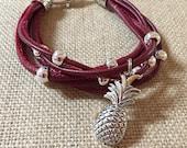 Pineapple charm multi strand leather bracelet