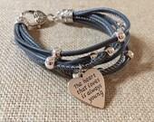 Heart that loves inspirational leather bracelet
