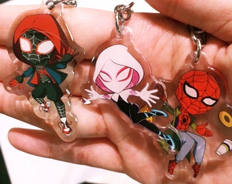 Keychain charms - Gwen Stacy - Miles Morales - Peter B Parker