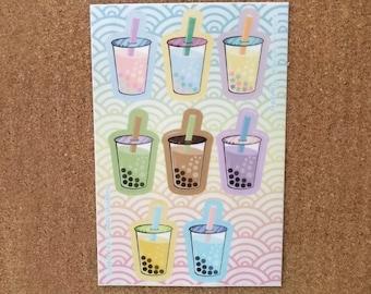 Bubble tea sticker sheet - 4x6