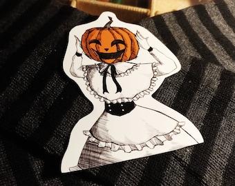 Trickster Pumpkin Girl - Halloween Waterproof Vinyl Sticker