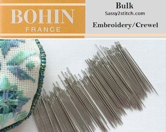 BULK Bohin CREWEL/EMBROIDERY Needles - Choose Quantity & Size