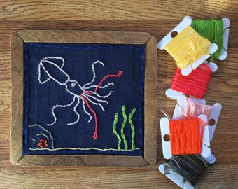 Scallywag Squid, Embroidery Plank